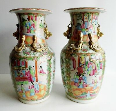 Magnificent Large Pair Of Antique Chinese Canton Vases - In Need Of Restoration
