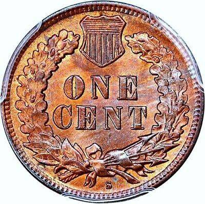 1908-S INDIAN CENT PCGS MS 64BN LOADS OF RED FOR A BROWN? 1st SAN FRAN Ic STRUCK