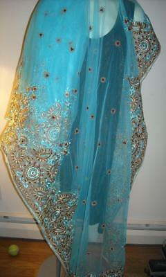 Stunning Turquoise Sari Saree with Gold Flowers & Red Beads Exquisite Hand Work