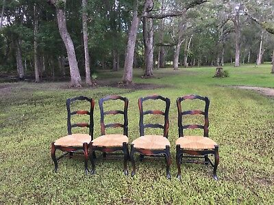 french provincial ladder back chairs with rush seats 200 00