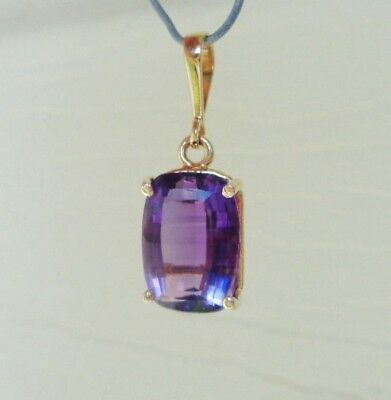 FINE 14KT YELLOW GOLD 4.5CTW NATURAL EMERALD CUT AMETHYST PENDANT 14K 2.2gr