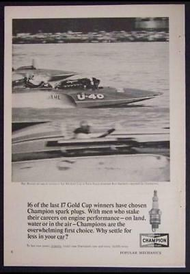 1964 Gold Cup Miss Bardahl U-40 Champion Spark Plug AD Ron Musson