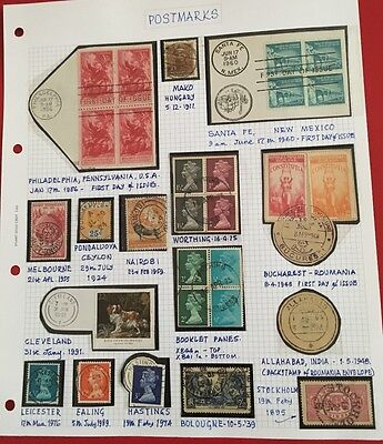 Stamp Album Page - Postmarks - 28 - stamps - worldwide - not hinged