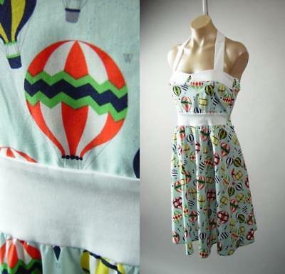 Hot Air Balloon Novelty Print Halter Vtg-y 50s Swing Sun 281 mv Dress S M L 1XL