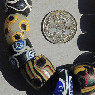 variety of 10 old antique venetian fancy beads african trade #1674