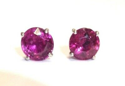 Fine .70CT High Quality Natural Red Ruby 14K White Gold Round Stud Earrings