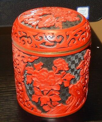 Large Chinese Flower Carved Cinnabar Red & Black Lacquer Enamel Trinket Jar Box