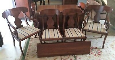 Henkel Harris Solid Cherry Drop Leaf Gate Leg Dining Table 2 Leaves & 6 Chairs