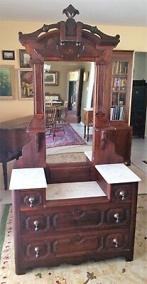 Signed Antique Victorian Walnut Marble Top Princess Dresser 1800's