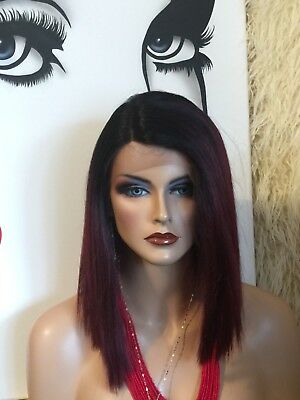 TRENDY Burgundy Red, Lace Front With Side Part, Medium BLUNT Cut Wig❤️