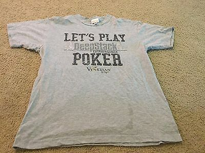 Nice men's size L Large The Venetian Las Vegas Deepstack Poker gray shirt