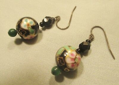 Lovely Pair of Antique Art Glass Earrings Hand Painted Floral Design Jade Drops