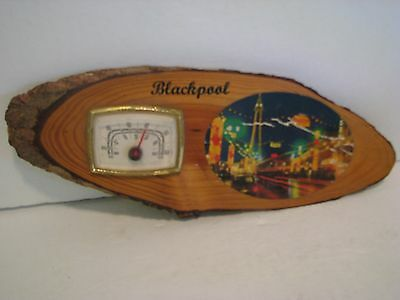 Vintage BLACKPOOL ENGLAND  Wooden Souvenir Thermometer