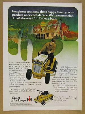 1971 IH International Cub Cadet Tractor & Riding Mower art vintage print Ad