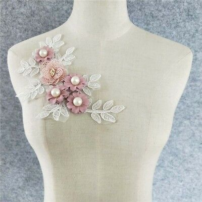 pink flower embroidery neckline clothing accessory sewing fabric