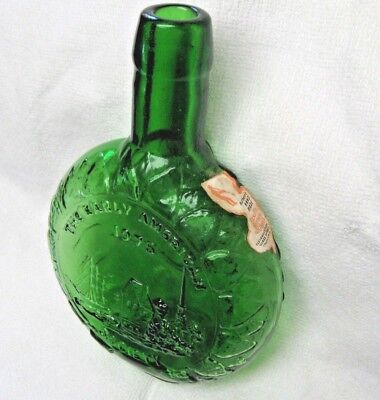 Clevenger Brothers 1975 Green Flask Bottle Candle Maker Authentic Handmade 7""