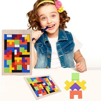 Wooden Tangram Brain Teaser Puzzle Tetris Game Gaming Preschool Kids Wood Toys