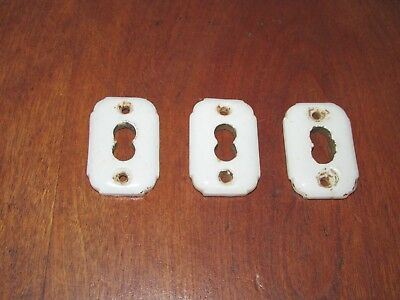 3 Matching Antique Victorian White Porcelain Keyhole Covers