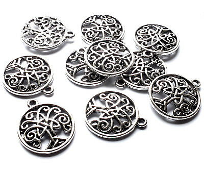 10 Celtic Knot Tree Charms Pendant 24mm, Silver Plated, Tree of Life Yoga, Pagan
