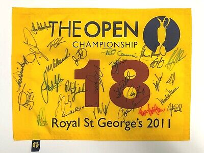 Open Golf Flag Signed 28 Champions Winners  Autograph AFTAL COA MILLER MICKELSON