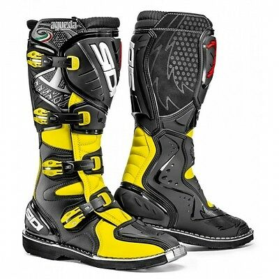 Sidi Stivali Agueda Cross Enduro Off Road Technomicro Nero Giallo Fluo Taglia 45