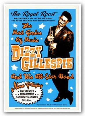 Dizzy Gillespie Reproduction Vintage Poster Music 24x17