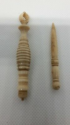 2 x Antique Turned Bone Lace Making Fids one chatelaine