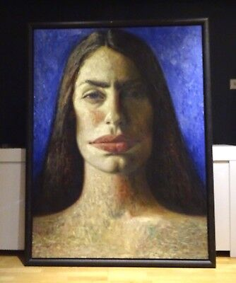 Fine Huge 20th Century Head Portrait Of Artist Penny Goring Oil Painting