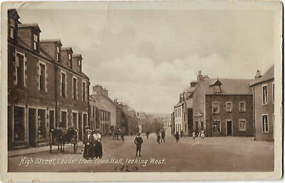 Scotland Lauder High Street From Town Hall Looking West Vintage PC 22.6