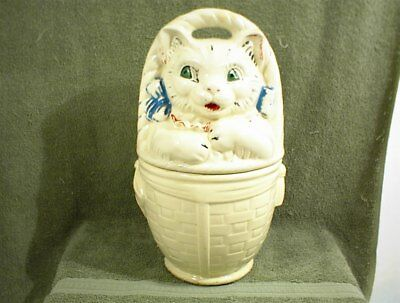 VINTAGE AMERICAN BISQUE CAT IN BASKET COOKIE JAR with LID
