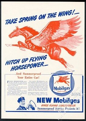 1946 Pegasus red flying horse art Mobil gas Spring On The Wing vintage print ad