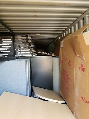 "Huge Lot Haworth Office Premise Cubicle Furniture Workstation 2"" 53ft Containers"