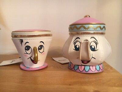 New Disney Chip Cup & Mrs Potts Tea Pot Purse Bag Beauty & The Beast - Bnwt