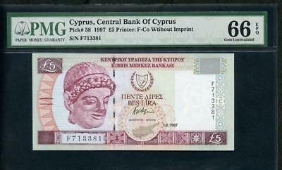 1997 Cyprus Central Bank 5 Pounds Pck 58 Pmg 66 Epq  Please  Lqqk!*