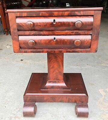 Antique Flame Mahogany 19th Century Two Drawer Sewing Stand End Table
