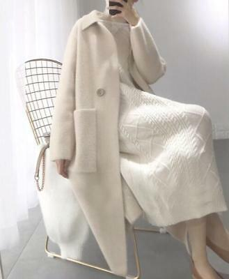 Womens Wool Blend Cashmere Lapel White Long Trench Outwear Fashion Overcoat E712