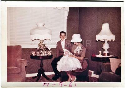 Orig 1960s Vintage Photo Handsome Young Couple Dressed for Baby Christening Day