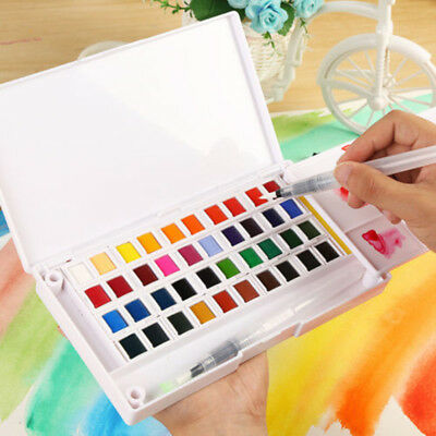 Hot 12/18/24/36 Solid Watercolor Paint Box with Paintbrush Portable Watercolor ~