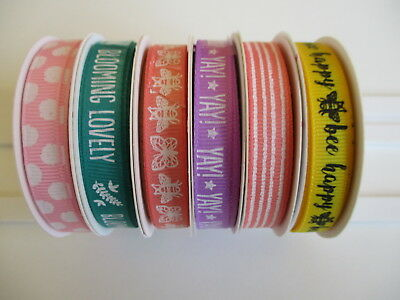 1 reel Dovecraft Blooming Lovely Grosgrain Ribbon - choice of design