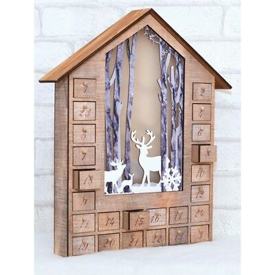 Beautiful Wooden House Advent Calendar Christmas Decoration Ornament LED Light