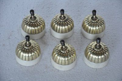 6 Pc Vintage Sperrynwood Ceramic&Brass Melon Shape Victorian Electric Switches