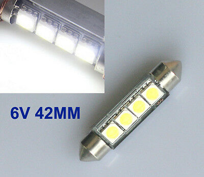 2x 6V LED 4 SMD Soffitte 42mm Weiß C10W OldTime Moped Simson 6000K Deutsche Post