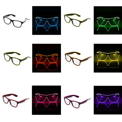 Shutter Shaped El Wire LED Light Up Glasses for Rave Costume Party Leuchtbrille