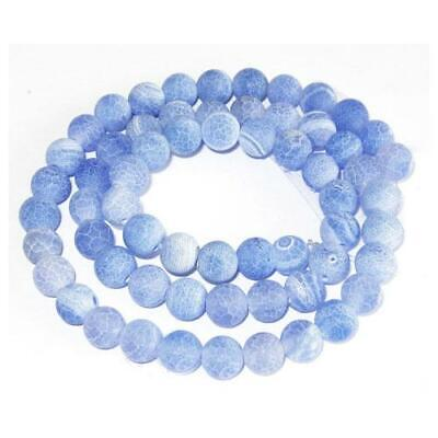 Frosted Cracked Agate Round Beads 10mm Blue 6 Pcs Gemstones DIY Jewellery Making