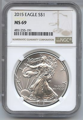 2015 American Eagle Silver Dollar 1 oz NGC MS 69 Certified - Philadelphia AS805