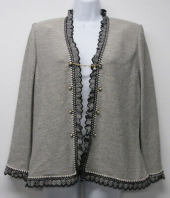 St John Collection Marie Gray Black Ivory Santana Knit Pearl Button Jacket sz 10
