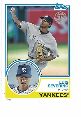 "2018 Topps '83 Style 5x7"" #/49 Luis Severino New York Yankees SET BREAK JUMBO"