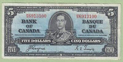 1937 Bank of Canada 5 Dollar Note - Coyne/Towers - H/S6913100 - VF