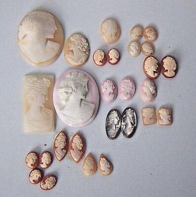 Vintage LOT Carved Shell Cameos 28 pcs asst'd Shapes & Sizes Singles Pairs