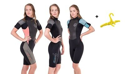 Wetsuit 3MM Large New Womens Shorty with Front Zipper  Scuba Snorkel Dive #9815